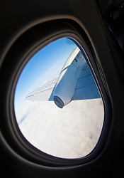 View from a Flybe Bombardier Q400 plane window..