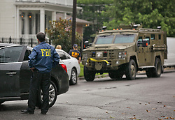 22 July 2016. New Orleans, Louisiana.<br /> FBI raid a house on Coliseum and State street in Uptown New Orleans. FBI officials at the scene declined to comment on the nature of the raid.  <br /> Photo; Charlie Varley/varleypix.com