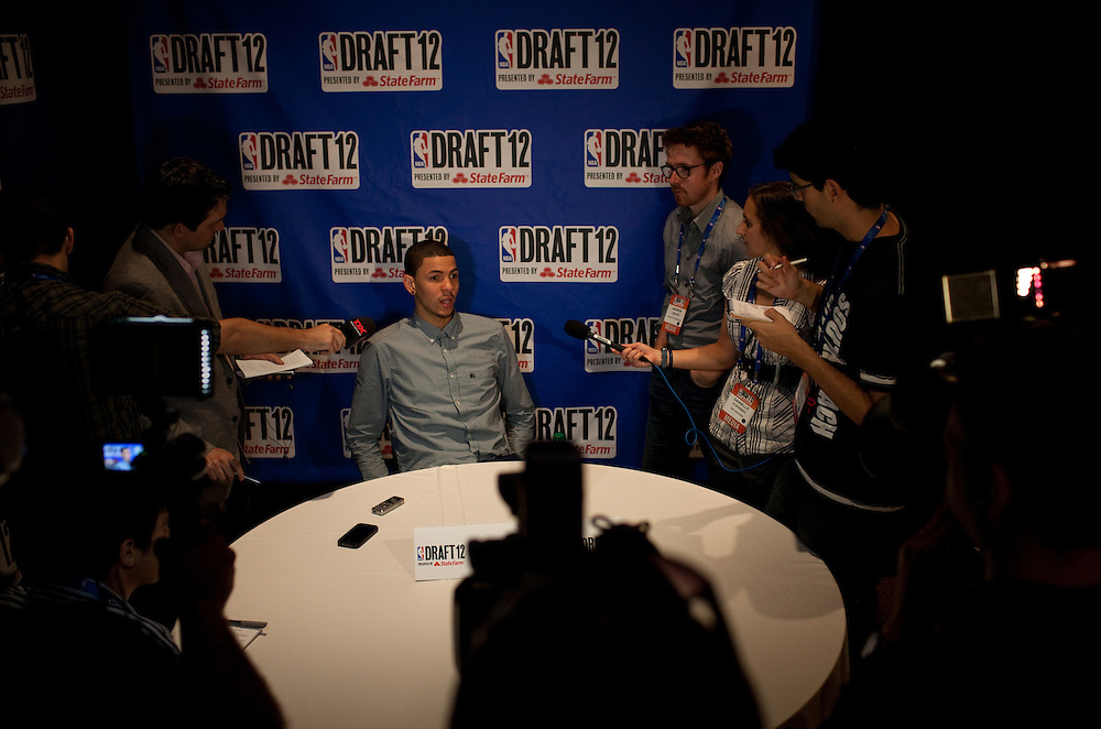 {June 27, 2012} {4:00pm} -- New York, NY, U.S.A.Duke basketball star Austin Rivers during media interviews at the Westin Hotel on Wednesday before the NBA draft Thursday in Manhattan, New York on June 27, 2012. .