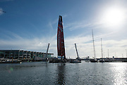 Emirates Team New Zealand tow out of the Viaduct for day two with the first AC72. . 3/8/2012
