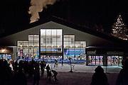 Day lodge at the Alyeska ski resort at night