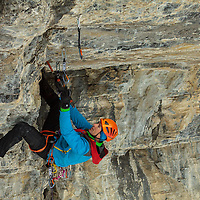 Will Mayo on the M11 Crux pitch of a new route near Hydrophobia called NoPhobia