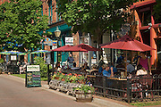 Sidewalk cafe and shops on Victoria Row, Charlottetown, Prince Edward Island, Canada.