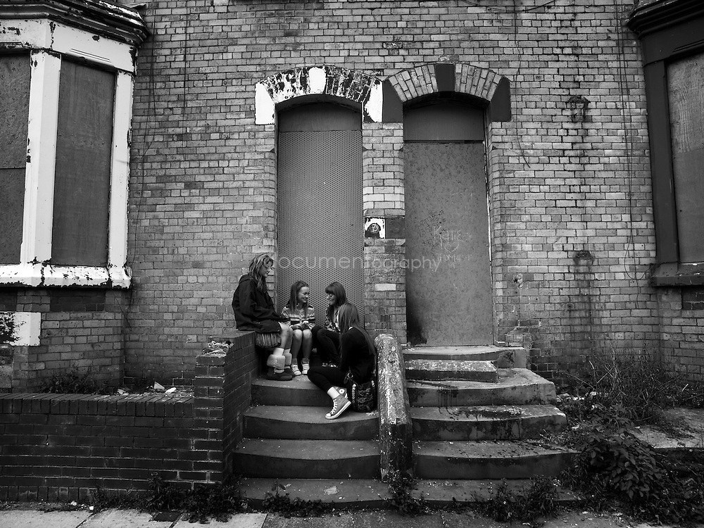 Teenage girls in one of Anfield deserted street...OLYMPUS DIGITAL CAMERA