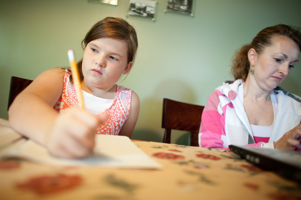 London, Ontario ---11-09-14--- Payton Shuck, 10, does her homework with her mother Paula in their London, Ontario home September 14, 2011. Payton is a perfectionist and has difficulty when things are not perfect.<br /> GEOFF ROBINS The Globe and Mail