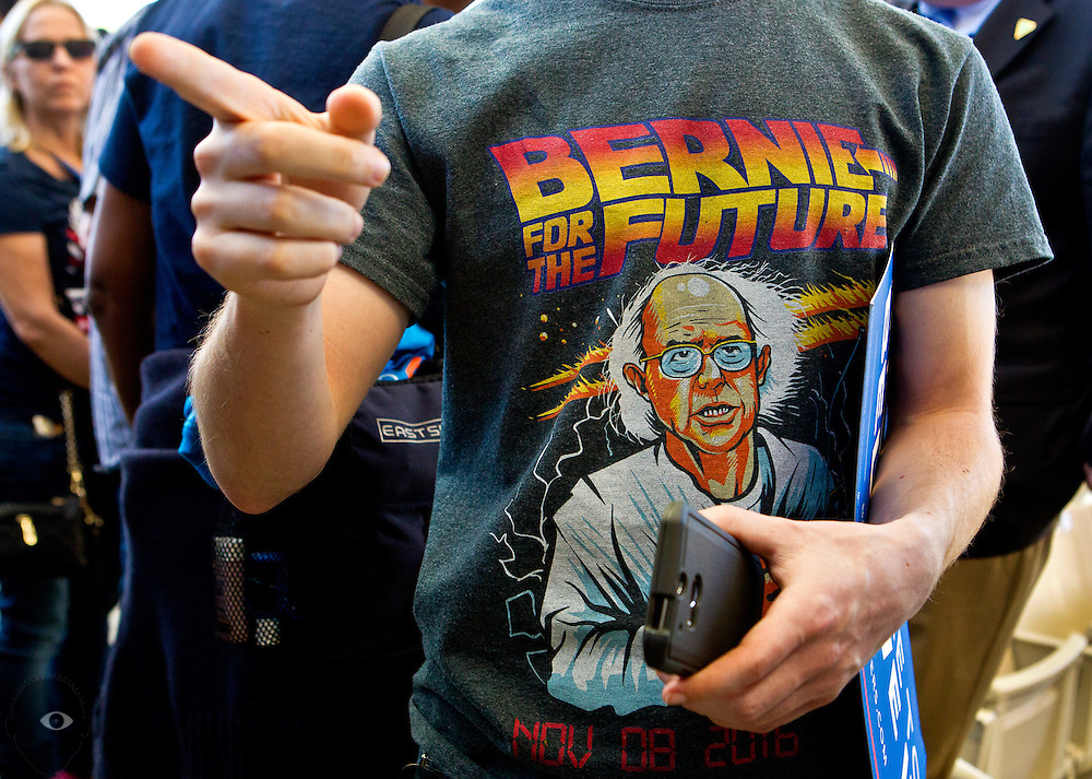 Supporter Brian Carolus sports a Democratic presidential candidate Bernie Sanders shirt during a caucus watch party and rally at the Henderson Pavilion as the Nevada results come in on Saturday, February 20, 2016.  L.E. Baskow