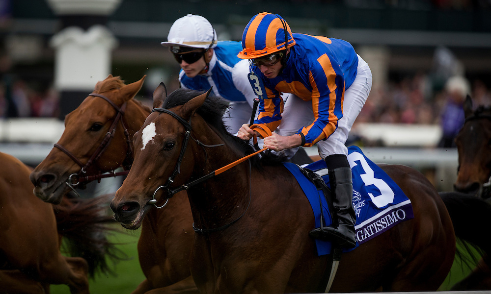 October 31, 2015:  Legatissimo and Ryan Moore race in The Breeders' Cup Filly and Mare Turf at Keeneland Race Track in Lexington, Kentucky. Evers/ESW/CSM