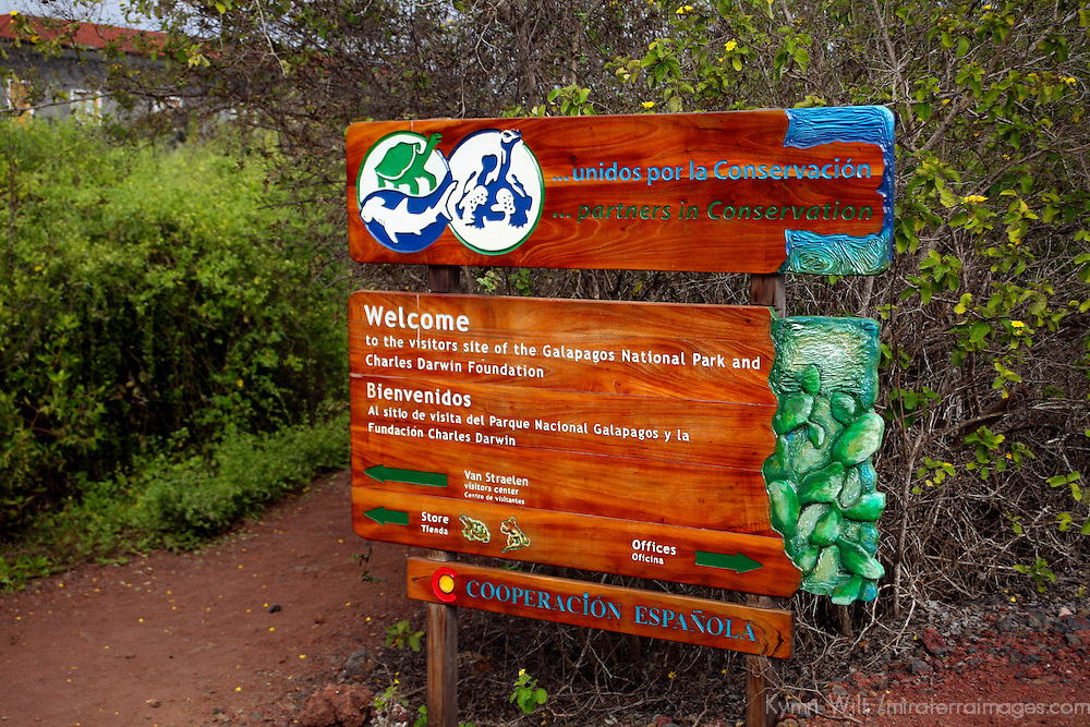 South America, Ecuador, Galapagos Islands. Sign at the Charles Darwin Foundation on Santa Cruz Island.