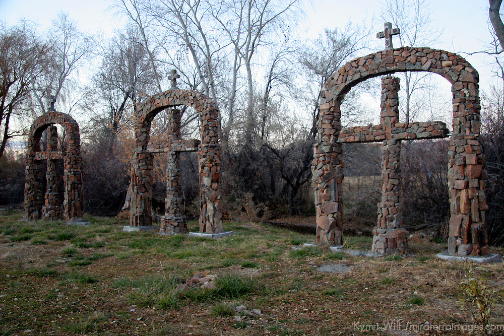 USA, New Mexico, Chimayo. stone crosses at Santuario de Chimayo.