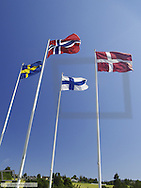 Flags of the nordic countries, Norway, Denmark, Sweden, Finland