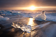 Ice on the beach at Breithamerkursandur, near Jokulsarlon ,Iceland
