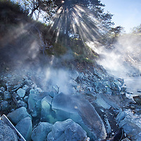 Costa Rica, Guanacaste Province, Miravalles, Steam rises up from fumarole in volcanic thermal park on slopes of Miravalles Volcano