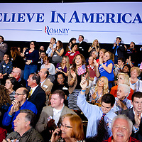 TAMPA, FL -- Mitt Romney supporters cheer at the results of exit polls on tv during the Election Night party on decision day for the Florida Primary on Tuesday, January 28, 2012. (Chip Litherland for The New York Times)