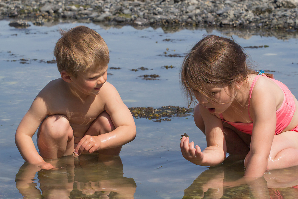 A young boy and girl explore a tide pool together in Glacier Bay. MR