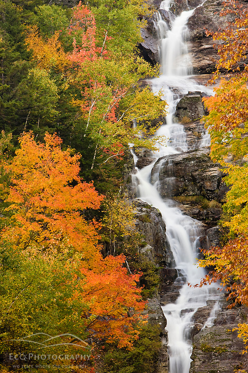 Silver Cascade waterfall in New Hampshire's White Mountains. Fall foliage. Crawford Notch State Park.