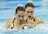 Spain ESP.CARBONELL Ona.FUENTES Andrea.London 2012 Olympic Synchronised Swimming Qualification Tournament.Day01 - Duet Technical.Photo G.Scala/Deepbluemedia/Wateringphoto.
