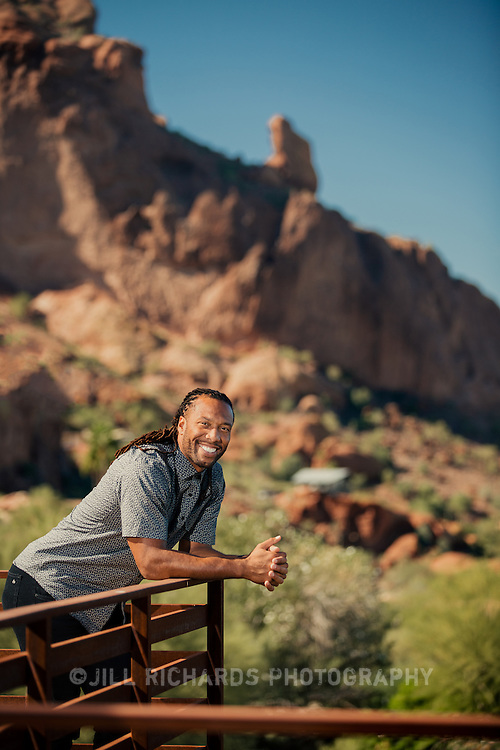 Arizona Cardinals wide receiver Larry Fitzgerald (b. August 31, 1983) photographed on location at Sanctuary Resort &amp; Spa in Paradise Valley. Fitzgerald, currently in his 13th season with Arizona, has been selected for the Pro Bowl nine times. <br /> <br /> Photograph by Jill Richards
