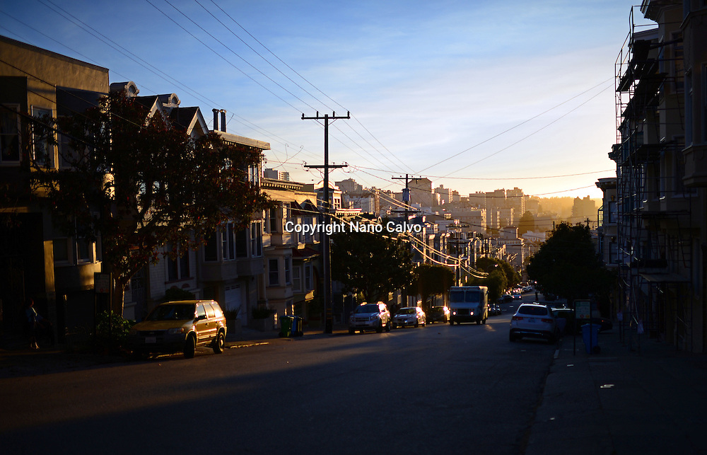 Streets of San Francisco at sunset.