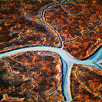 Aerial View of Wetlands/ Marsh lands in Southern Delaware Aerial views of artistic patterns in the earth.