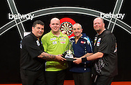 ***HOLD*** DO NOT PUT ON THE WIRE!!!! STRICT EMBARGO 4PM WEDNESDAY 21ST MAY, 2014.<br /> Left to right: Gary Anderson, Michael van Gerwen, Phil Taylor and Raymond van Barneveld pictured at the Brighton Centre in Brighton, East Sussex for Betway Premier League Darts final. PRESS ASSOCIATION Photo. Picture date: Thursday 15th May, 2014. Photo credit should read: Chris Ison/PA Wire.