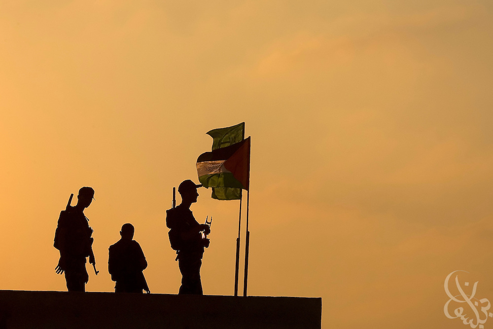 Hamas security force policemen man rooftop positions in the Jabaliya Camp August 02, 2007 in Gaza. Time will tell if Hamas can maintain its' hold on Gaza in the face of internal and external pressures. ..