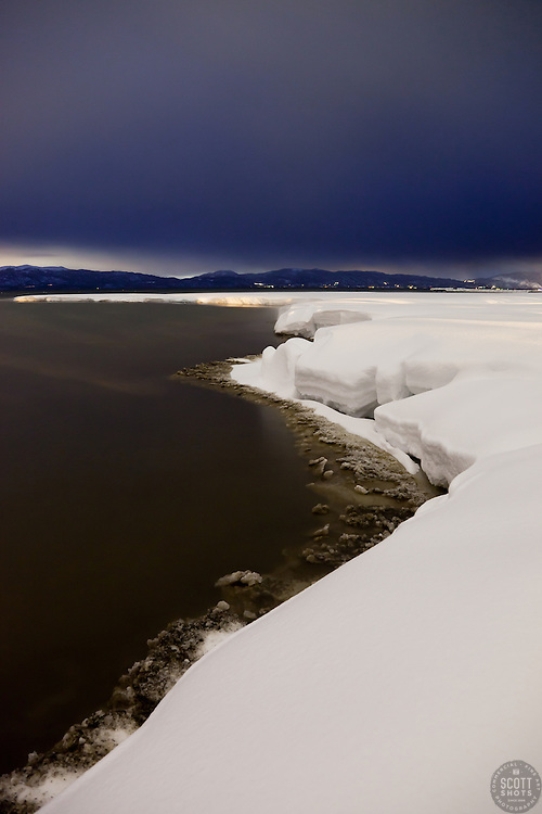 """Snowy Shore on Lake Tahoe 2"" - This snowy shore line on Lake Tahoe was photographed at dusk in Tahoe City, CA"