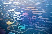 Alaska. North Slope Wetlands aerial showing Meade River Drainage.