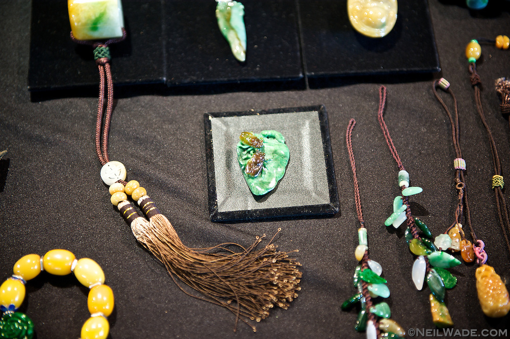 Multi-colored jade jewelry on display at the Taipei Jade Market.