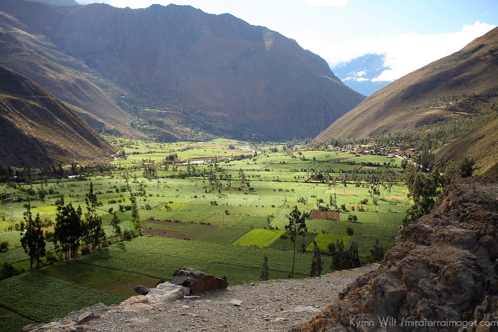 South America, Peru, Urubamba Valley. View of the Urubamba Valley from Ollantaytambo ruins.