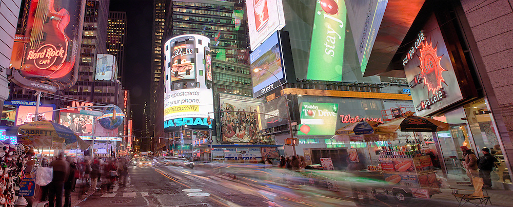 A view of Times Square from 43rd Street Looking East.