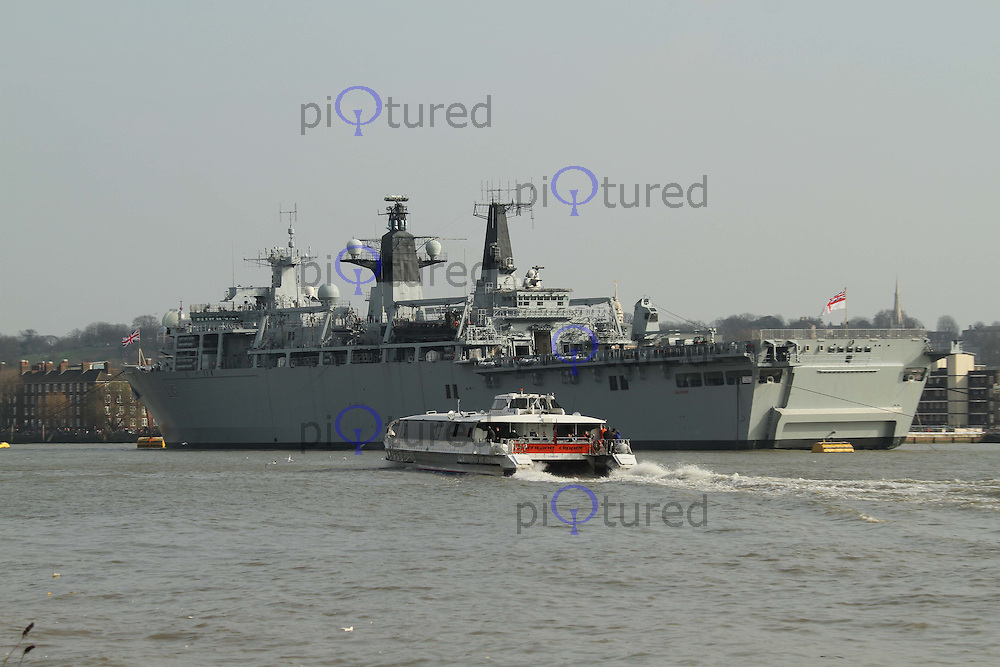 HMS Bulwark L15 in Greenwich on the Thames River, London, UK, 20 March 2011:  Contact: Rich@Piqtured.com +44(0)7941 079620 (Picture by Richard Goldschmidt)