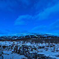 """Mount Nuolja 8:01 AM. Although the sun never rises above the horizon at this time of year, from about 8-9 AM a """"pre-dawn"""" light occurs."""
