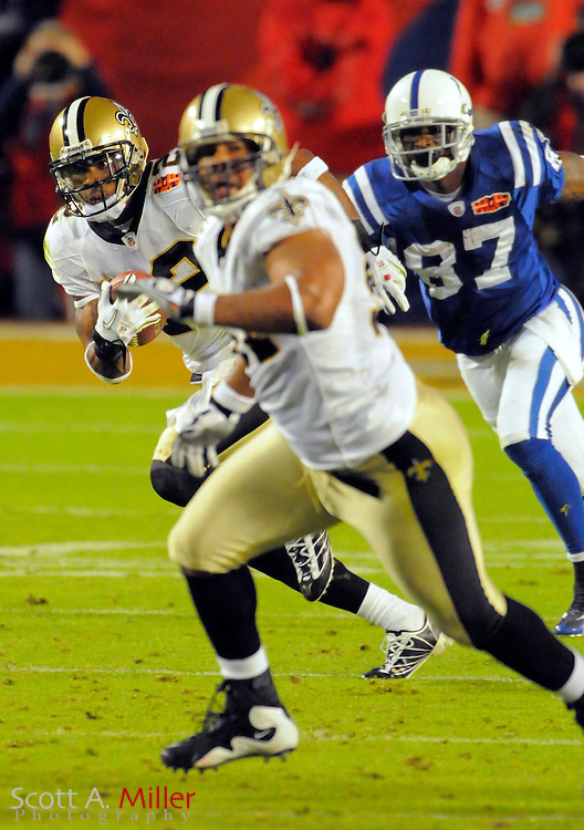 Feb 7, 2010; Miami, FL, USA; New Orleans Saints cornerback Tracy Porter (22) returns an interception for a touchdown during the fourth quarter of Super Bowl XLIV against the Indianapolis Colts at Sun Life Stadium. ©2010 Scott A. Miller
