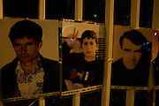 Posters commemorating the thousands of men and women still missing following the 1999 war are strung outside the Presidential office building in the center of Pristina.