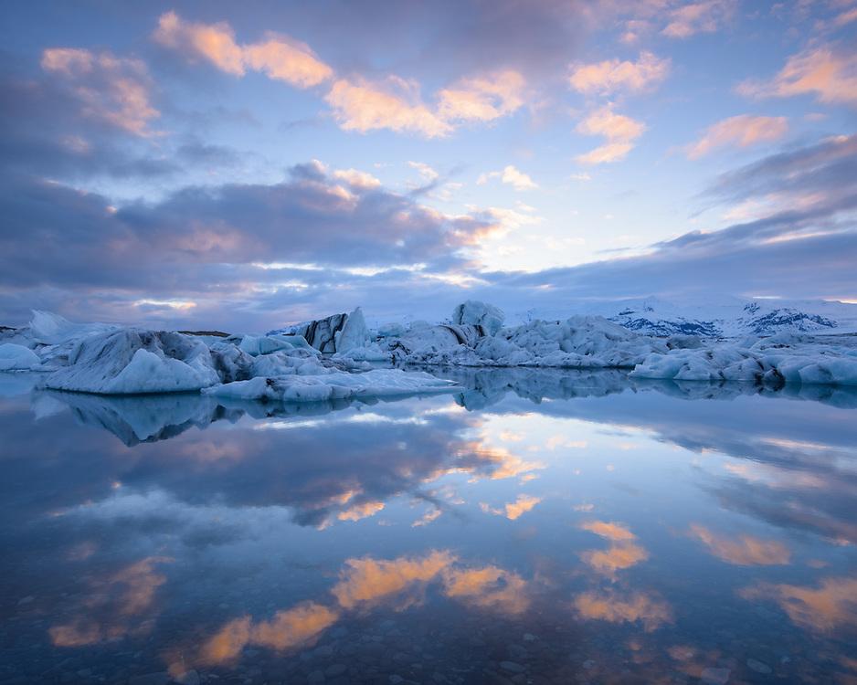 Jokulsarlon at dusk,  Iceland