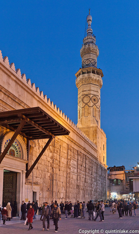 Main gate and the Minaret of Qaitbay at night, Umayyad Mosque, Damascus, Syria