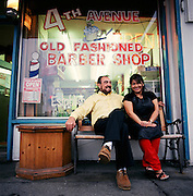 Owners of the 4th Ave Barber Shop in Downtown Anchorage, Alaska. 2007