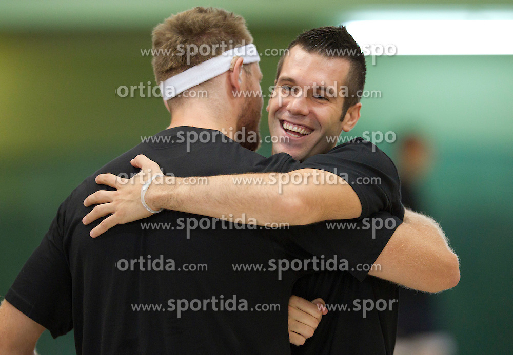 Miha Zupana and Sani Becirovic at practice session of Slovenia basketball team on media day on July 16, 2010 at Rogla sports center, Slovenia. (Photo by Vid Ponikvar / Sportida)