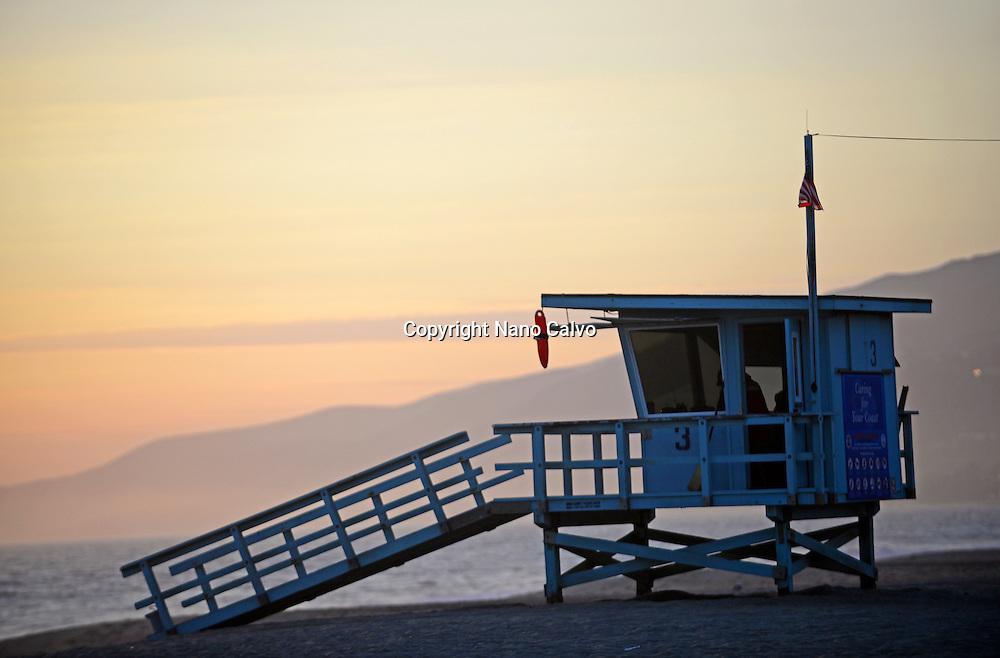 Lifeguard tower at Zuma beach in Malibu, California.