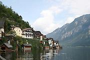 Austria, Upper Austria, Salzkammergut, Hallstatt. View from Hallstatter Lake