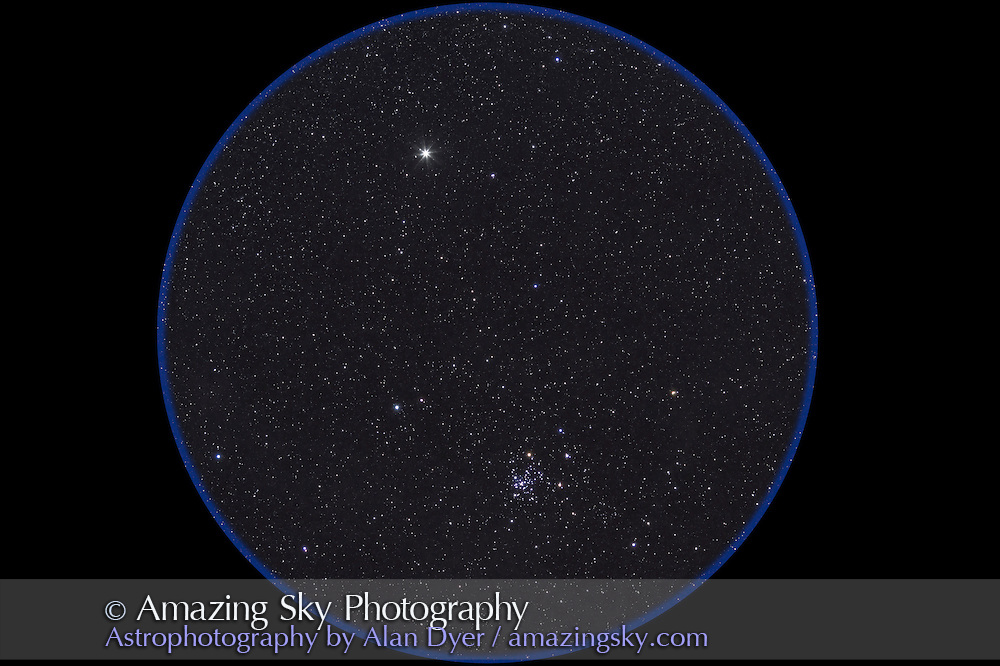 NGC 2516, the naked eye open cluster at the foot of the False Cross in Carina. Sometimes called the Southern Beehive. Field is oriented along the Milky Way so north is to the right here. Bright star is Avior, or Epsilon Carinae. Taken from Chile this is a stack of 5 x 2 minute exposures at f/2.8 with the 135mm lens and Canon 7D at ISO 1250.
