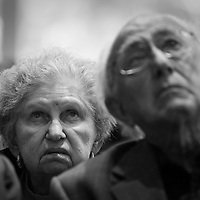 Holocaust survivors watch a film. Please visit USHMM for images and to consider a donation to this federal museum: http://neveragain.ushmm.org/