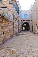 A street in the Jewish Quarter of the Old City of Jerusalem. WATERMARKS WILL NOT APPEAR ON PRINTS OR LICENSED IMAGES.