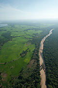 Aerial view of Mahaweli river and border of the Wasgamuwa National Park.