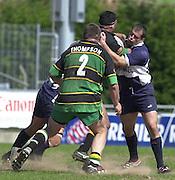 01/06/2002.Sport - Rugby - Zurich Championship.Bristol v Northampton.Shogans Felipe Contepomi right - Tackles Saints Andrew Blowers.   [Mandatory Credit, Peter Spurier/ Intersport Images].