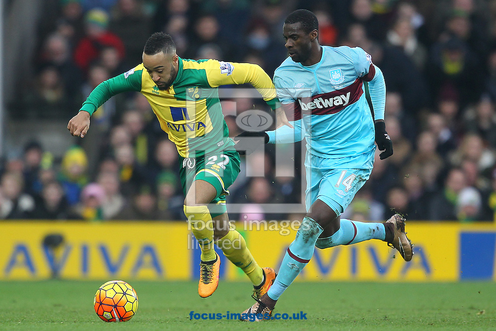 Nathan Redmond of Norwich and Pedro Obiang of West Ham in action during the Barclays Premier League match at Carrow Road, Norwich<br /> Picture by Paul Chesterton/Focus Images Ltd +44 7904 640267<br /> 13/02/2016