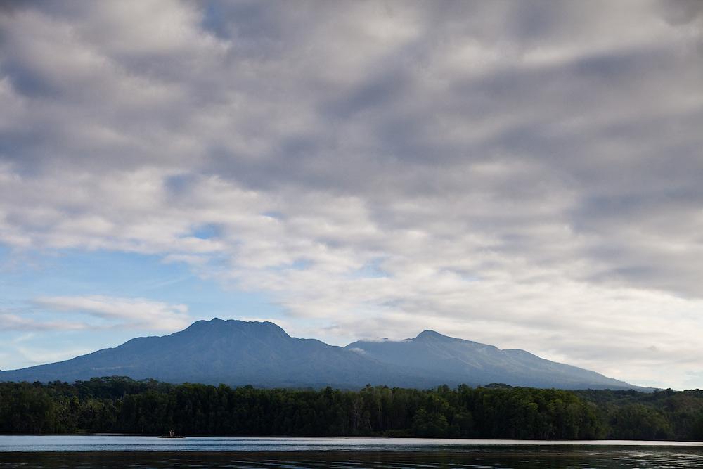 Mountains of Kolombangara at sunrise