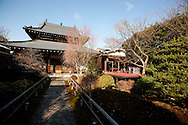 In the grounds and gardens of Kanga-an temple, where there is a restaurant serving Shojin-ryori cuisine (a cuisine eaten mainly by Buddhist followers), in Kyoto, Japan, on Friday 13th January 2012.
