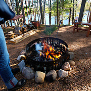 Keeping warm at a fire pit in  Northern Wisconsin.