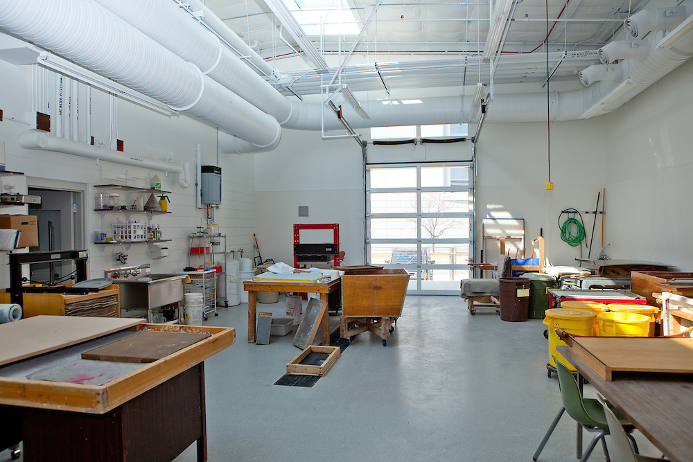 Photographs of the papermaking lab at the University of Wisconsin-Madison. Here is a view of the paper forming area.